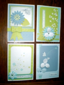 4 cards Using CM Reflections Storybox Papers, Flowers and Enchanted Expoxy Stickers.  I have also printed off greetings using my Storybook Creator 4.0.