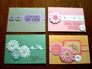 Thes cards have been made using the Fabulous Storybox Papers, Flowers, Buttons, Paper Ribbons and Sayings.