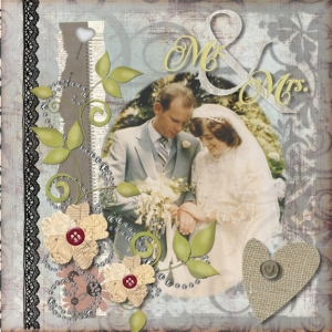 Digital shabby chic wedding layout