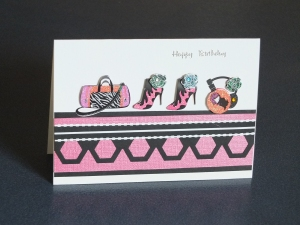 Pink and black handcrafted  card for teenagers