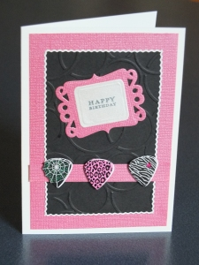 Pink and black handcrafted card