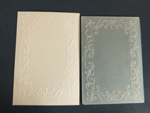 Embossed cardstock before trimming