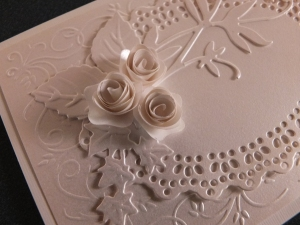 Roses glued onto the card