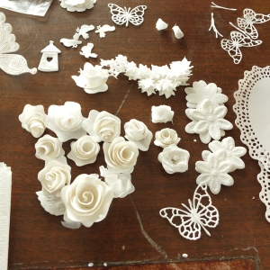 Diecut flowers from toilet tissue