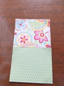 Trim a piece of patterned paper to 5 inches x 3 inches. Here I have also cut th