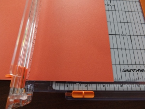 Trim coloured cardstock to 3 12 inches by 12 inches