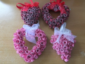 Some heart decorations using CTMH Artiste cartridge and Ruby and Candy Cotton ca