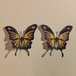 Vellum butterfiles coloured with Touch markers