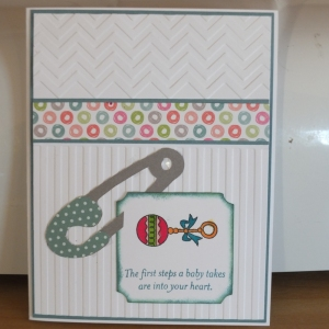 CTMH Lollydoodle baby card using stripe and chevron embossing folders.