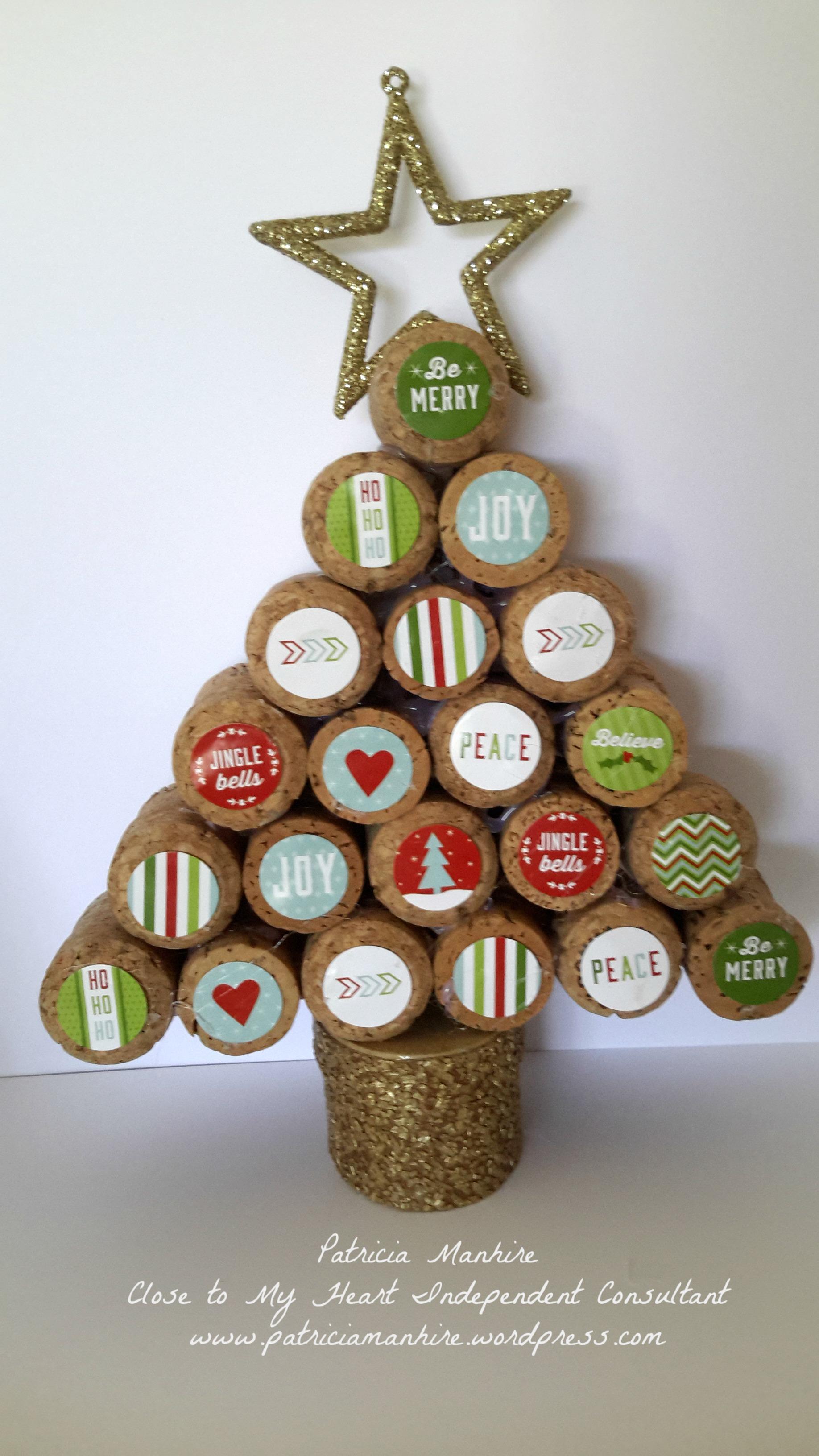 Christmas decorations cork - Cork Christmas Tree Ornaments Cork Christmas Tree Using Ctmh Cut Above Christmas Treat Bag Stickers