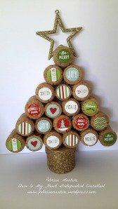 Cork Christmas tree using CTMH Cut Above Christmas Treat bag stickers