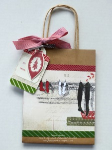 Yuletide Carol Kraft bag with stockings
