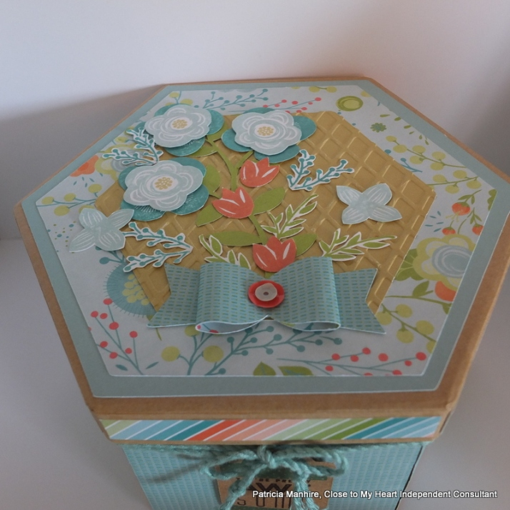 Box decorated with #CTMH Blossom papers.